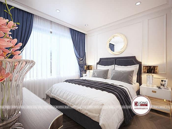 Phòng ngủ chung cư đơn giản với họa tiết tân cổ điển trang nhã