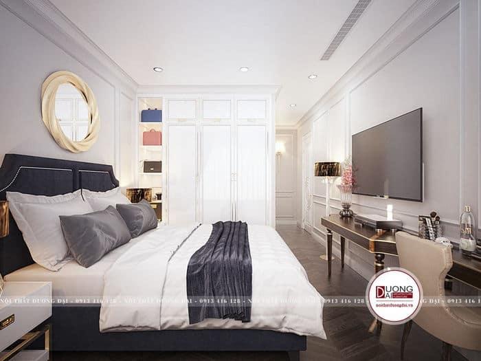 Nội thất trong phòng ngủ được bài trí hợp lý để tiết kiệm diện tích