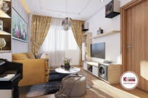 Phòng khách nhỏ xinh với thiết kế nội thất đơn giản