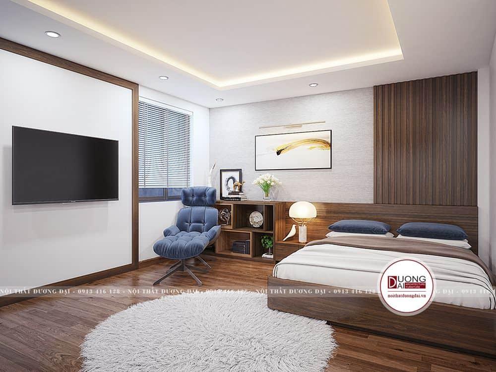 Không gian phòng ngủ thoáng rộng với sự kết hợp màu sắc ánh sáng
