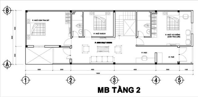 Thiết kế nhà ống 2 tầng 5x9m