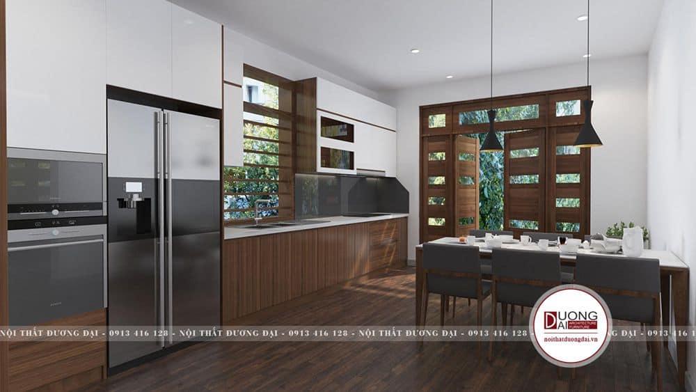 Thiết kế không gian phòng bếp ăn thoáng rộng và rất sạch sẽ