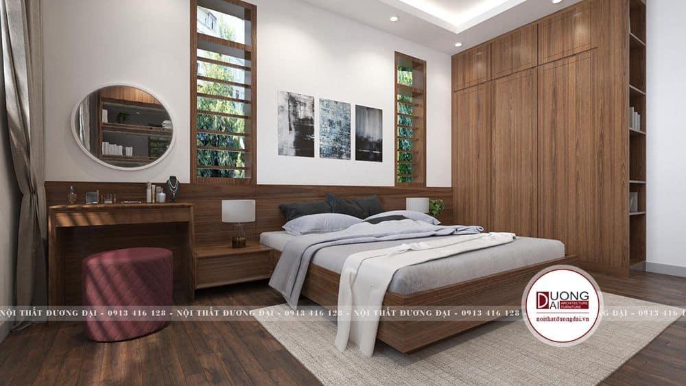 Không gian phòng ngủ 2 bố trí trên tầng 2 với view nhìn ra vườn