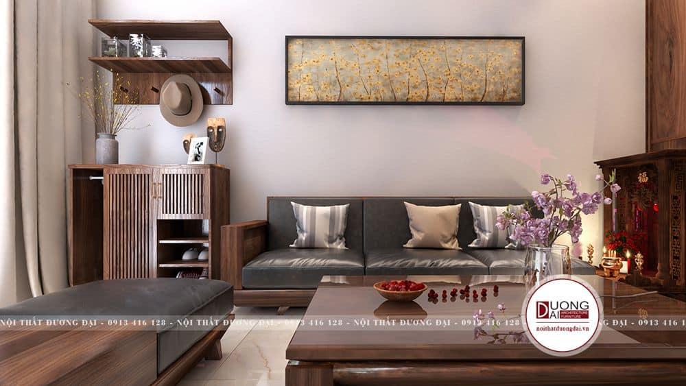 Bộ sofa đơn giản cùng các vật dụng đơn giản đáp ứng đủ nhu cầu sử dụng