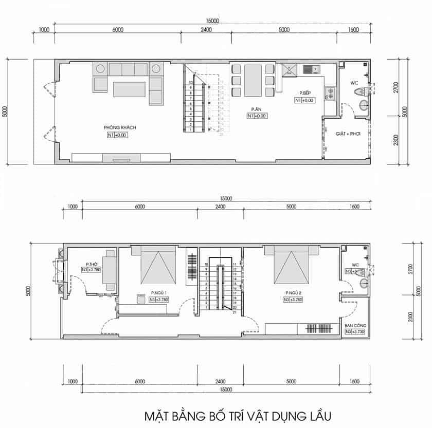 Thiết Kế Nhà Ống 4.5 x12m 2 Phòng Ngủ Hiện Đại