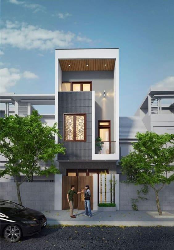 Mặt tiền thiết kế nhà 3 tầng diện tích 40m2 đơn giản tận dụng diện tích tối đa
