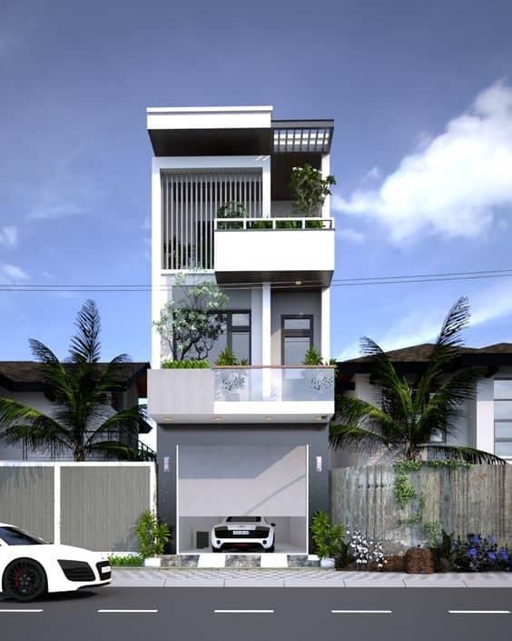 Thiết kế nhà đẹp 3 tầng 40m2 ( 4×10) có gara ô tô phía trước dùng để đậu xe thuận tiện
