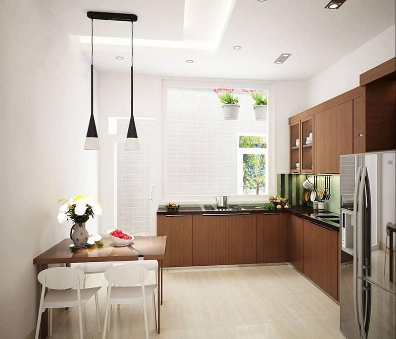 Khu vực nấu nướng có cửa sổ rộng giúp cho quá trình trao đổi không khí tốt nhất.