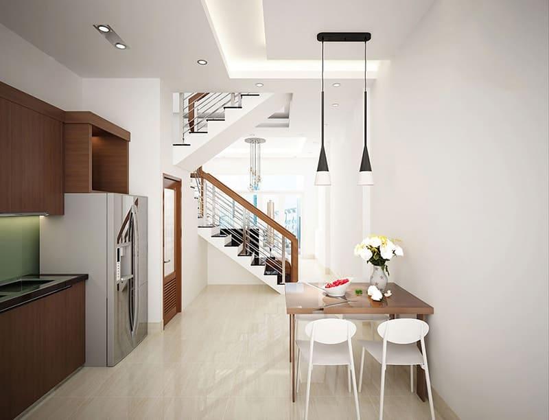Bộ bàn ghế ăn nhỏ gọn, thanh mảnh được bố trí sát tường