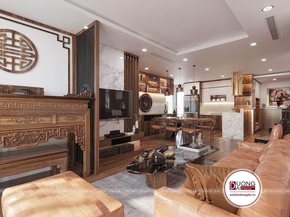 Thiết kế nội thất phòng khách với chất liệu gỗ sang trọng