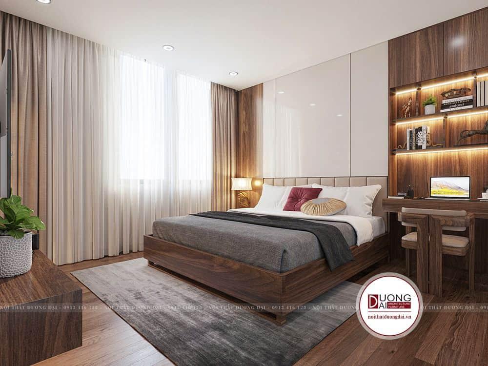 Không gian phòng ngủ master ấm áp với tone màu gỗ