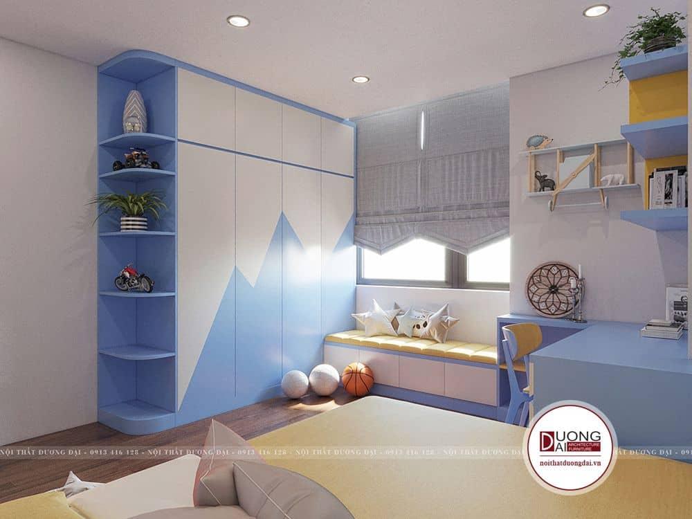 Phòng ngủ của con trai với màu xanh dương năng động, cá tính