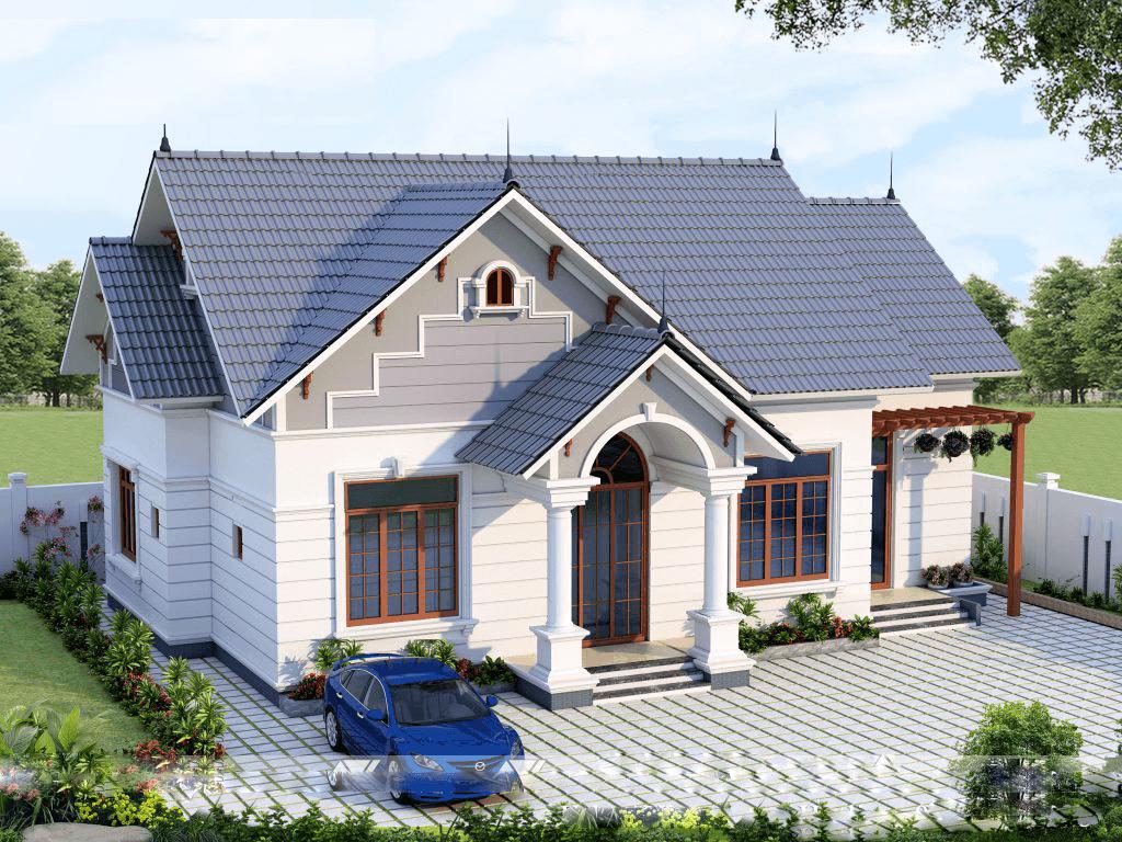Nhà mái thái đẹp ấn tượng với tầng gác mái lớn làm phòng ngủ