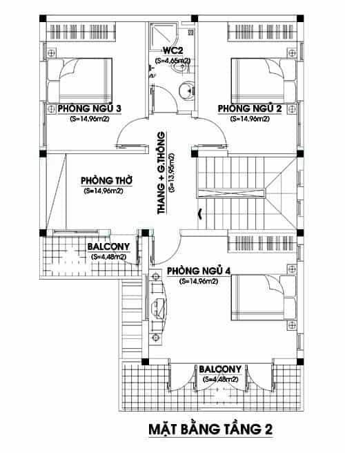Thiết Kế Nhà Vườn 2 Tầng Hình Chữ l 4 Phòng Ngủ Đẹp