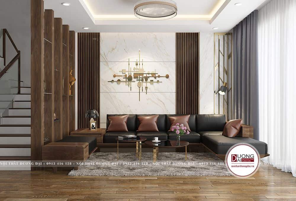 Phòng khách nổi bật với bộ sofa bọc da ấn tượng và sang trọng