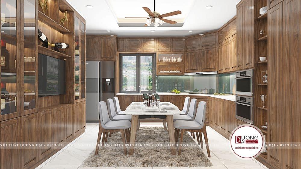 Hệ thống tủ bếp và tủ trang trí được thiết kế cùng chất liệu và đồng màu
