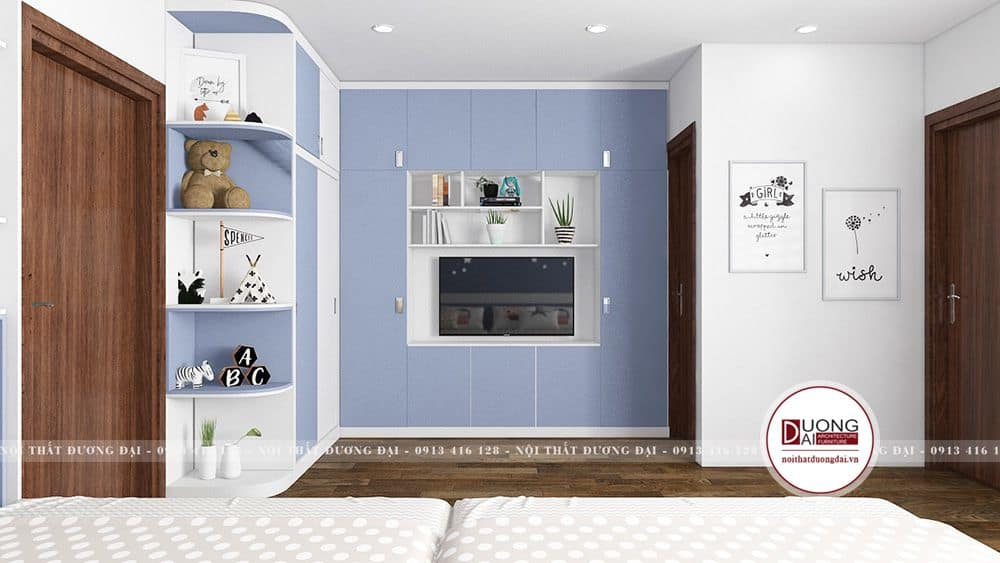 Phòng ngủ của con với màu xanh dương nhẹ nhàng