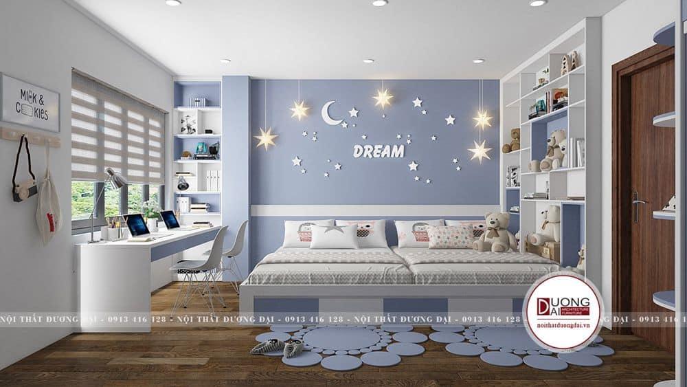 Không gian phòng ngủ của con với tạo hình đẹp mắt và rất đáng yêu