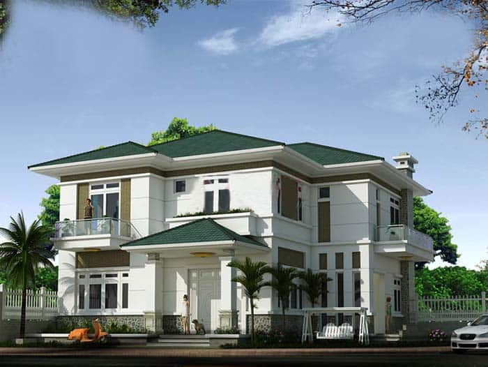 Thiết kế nhà vườn 500m2 mái Thái sang trọng