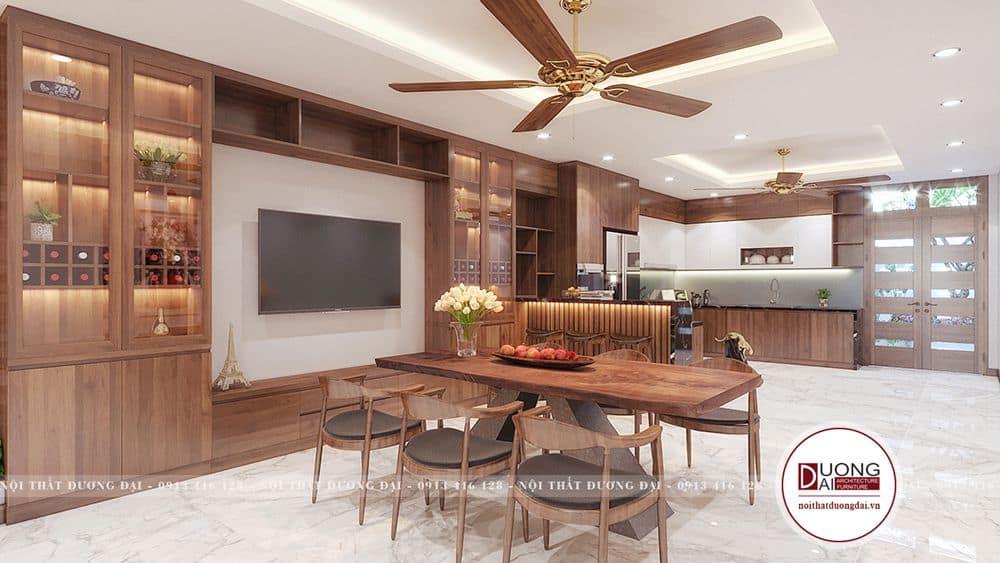 Không gian phòng bếp ăn thiết kế dạng chữ L gọn gàng và công năng