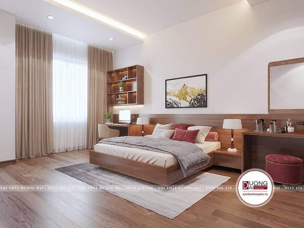 Phòng ngủ master với tone màu trầm ấm nhã nhặn