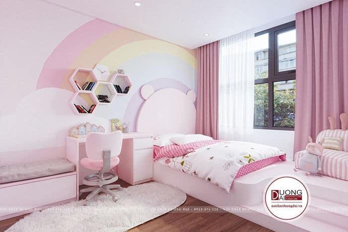 Phòng ngủ siêu dễ thương với gam màu hồng của con gái