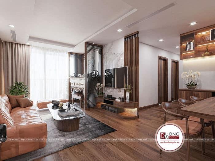 Nội thất phòng khách sang trọng với nội thất gỗ MDF