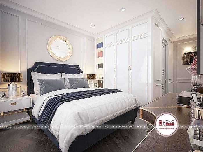 Nội thất phòng ngủ cao cấp với màu sắc sang trọng như trắng, xanh đậm