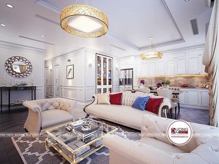 Không gian phòng khách sang trọng với tông màu trắng