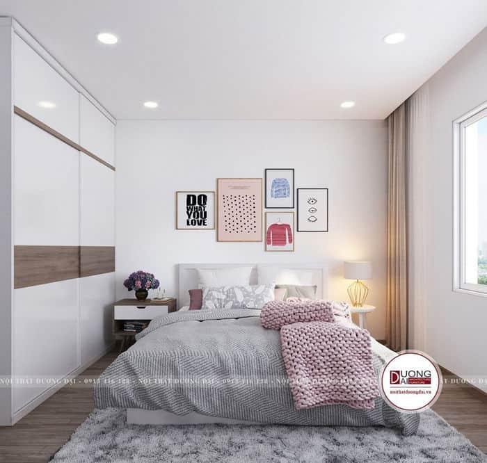 Phòng ngủ chung cư nhỏ với đồ nội thất hiện đại, trẻ trung