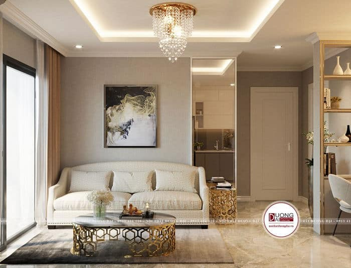 Phòng khách 10m2 với phong cách châu Âu đầy xa hoa