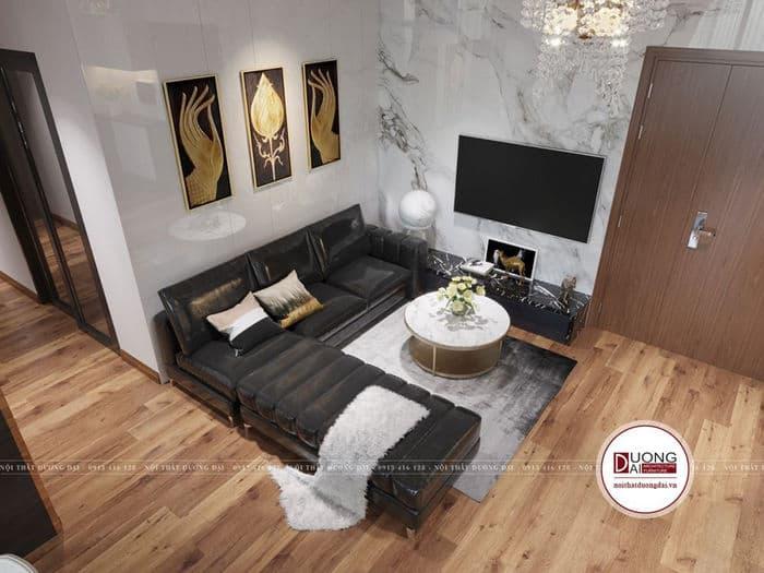 Bộ sofa chữ L màu đen đầy cá tính cho phòng khách nhỏ