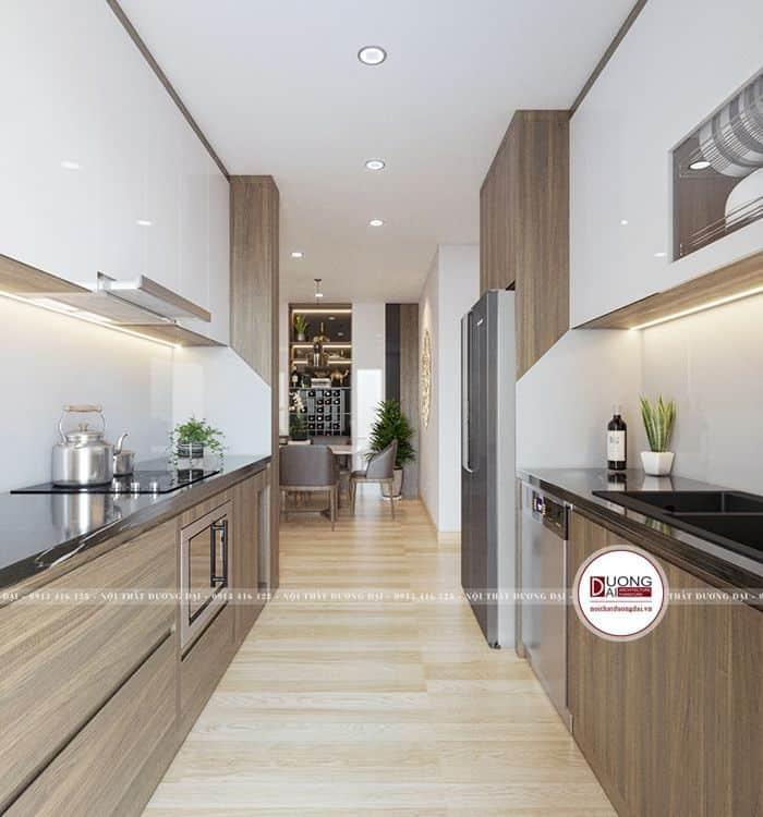 Tủ bếp thông minh với chức năng nâng hạ giá bát, kết hợp kệ trang trí