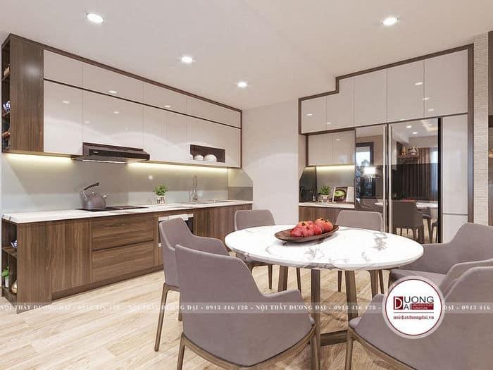 Mẫu 2 tủ bếp âm tường và bàn ăn tròn sang trọng cho chung cư nhỏ
