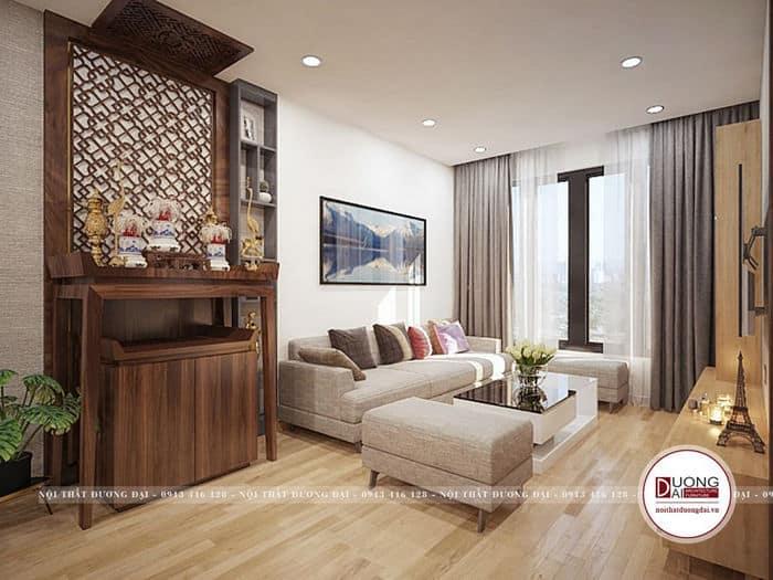 Nội thất phòng khách có bàn thờ uy nghi và trang trọng