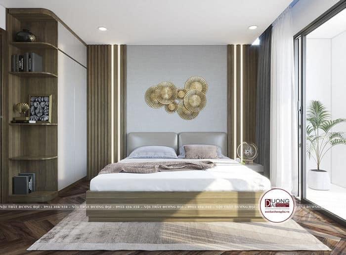 Phòng ngủ trang nhã với nội thất gỗ công nghiệp