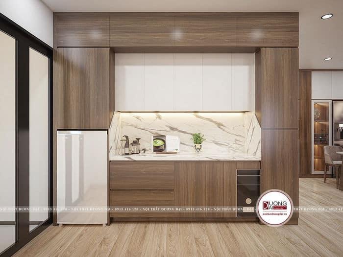 Thiết kế phòng bếp nhỏ gọn và tiện nghi với chất liệu gỗ công nghiệp