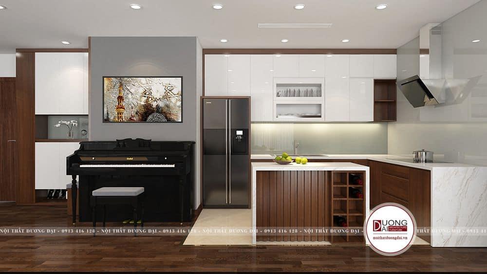 Không gian chung cư nhỏ nên sử dụng tủ bếp kiểu châu Âu hiện đại