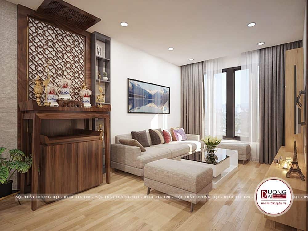 Phòng khách trang nhã với bộ sofa màu be