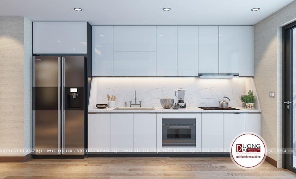 Tủ bếp cánh Acrylic trắng bóng bẩy và trang nhã