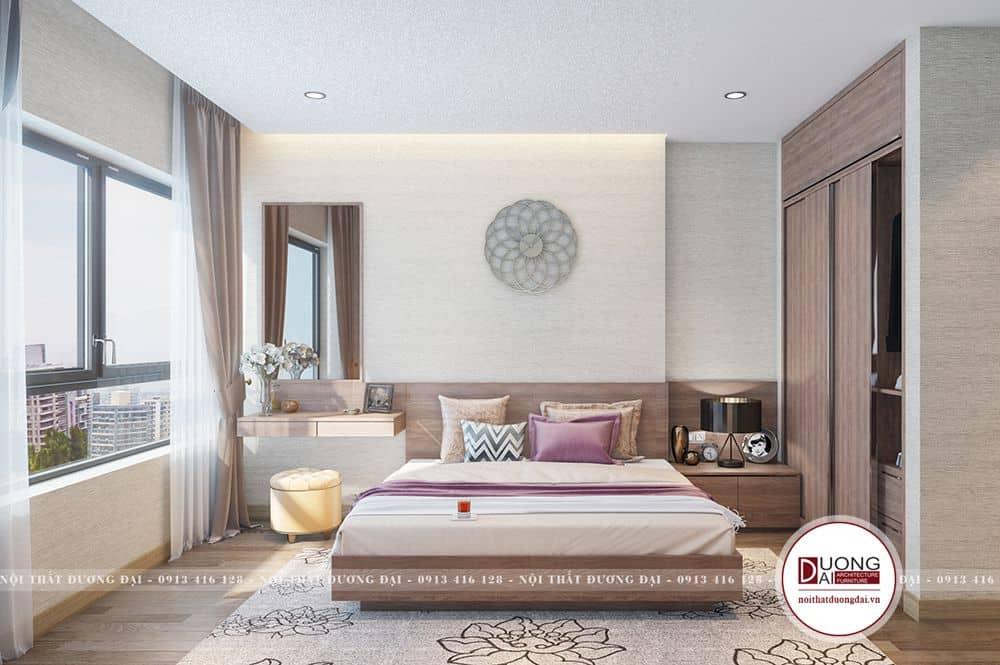 Phòng ngủ Master trang nhã với tủ quần áo âm tường