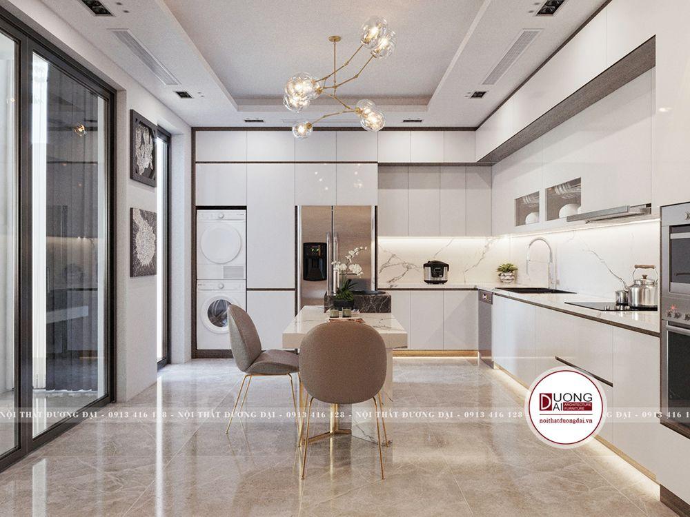 Tủ bếp trắng được làm từ gỗ MDF cánh Acrylic bóng bẩy