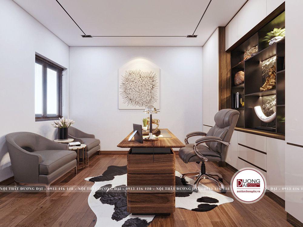 Phòng làm việc tiện nghi và lịch sự của thiết kế biệt thự Vinhomes Ocean Park