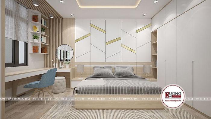 Phòng ngủ của vợ chồng với tông màu sáng đầy hiện đại