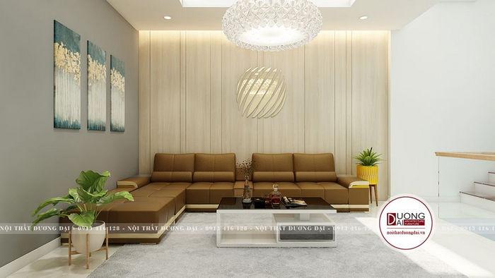 Không gian phòng khách mặt tiền 3m nhỏ bài trí sofa chữ L độc đáo