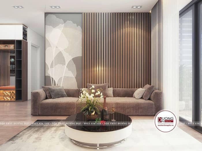 Phòng khách hiện đại với mảng tường được vẽ tranh nghệ thuật