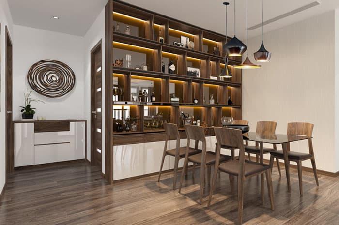 Tủ rượu gỗ óc chó sang trọng và hiện đại