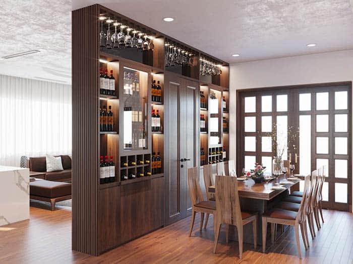 Tủ rượu siêu đẳng cấp làm vách ngăn phòng ăn đầy uy nghi