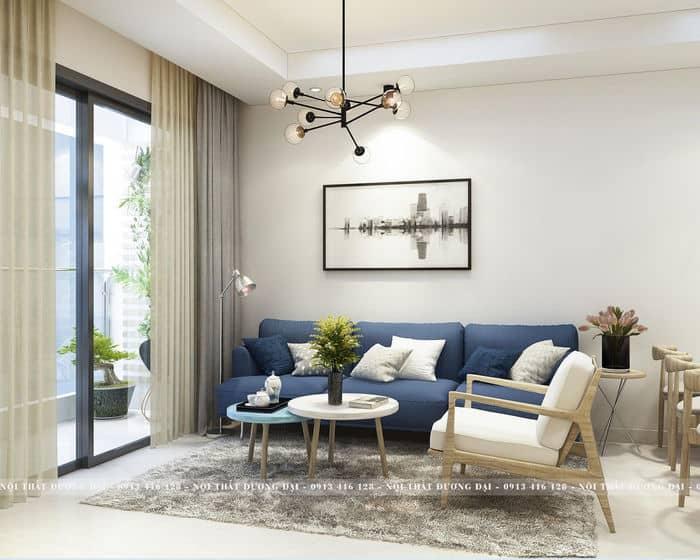 Bộ sofa màu xanh trên nền trắng mang đến nét đẹp tinh tế phong cách Bắc Âu