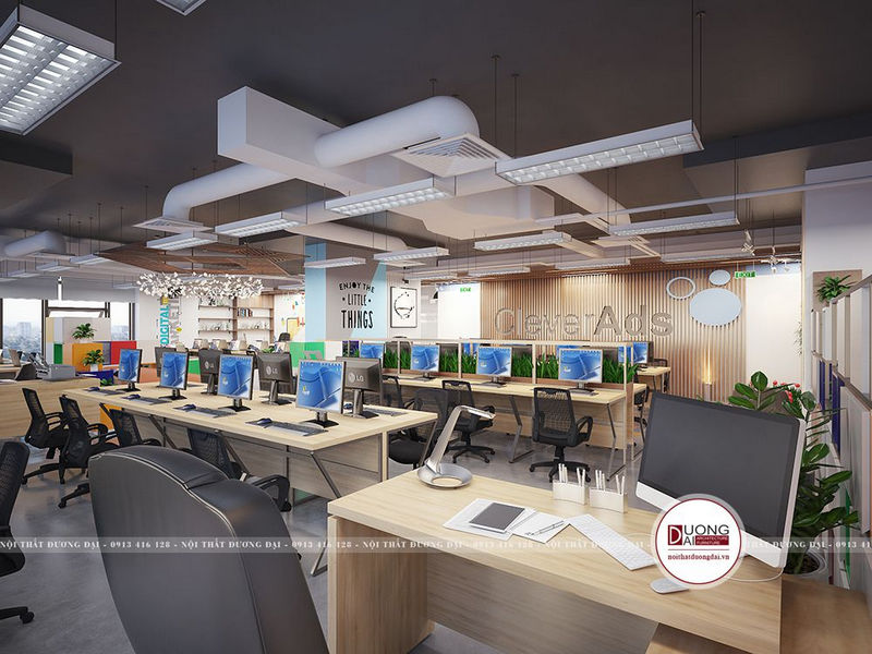 Thiết kế văn phòng 100m2 hiện đại siêu tiện nghi và đẳng cấp